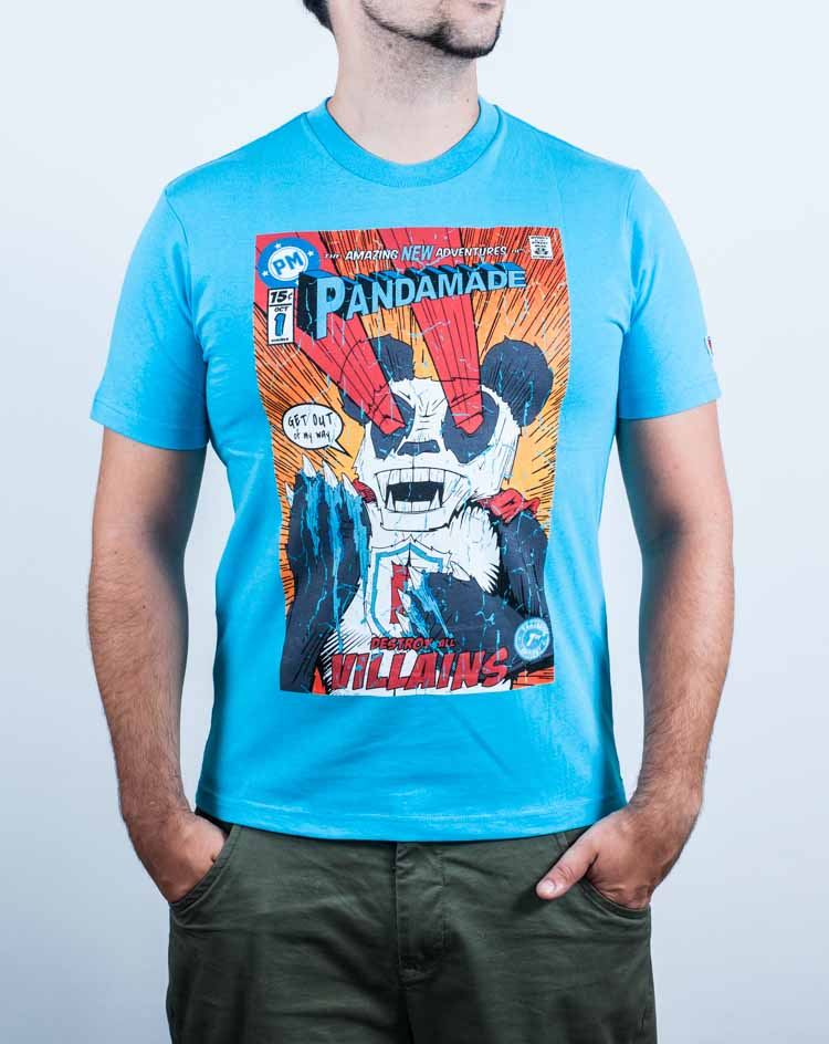 t-shirt, comic book, illustration, panda