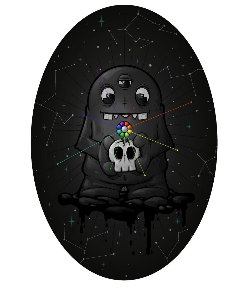 Illustration, skull, monster, vector, character, design, editorial illustration