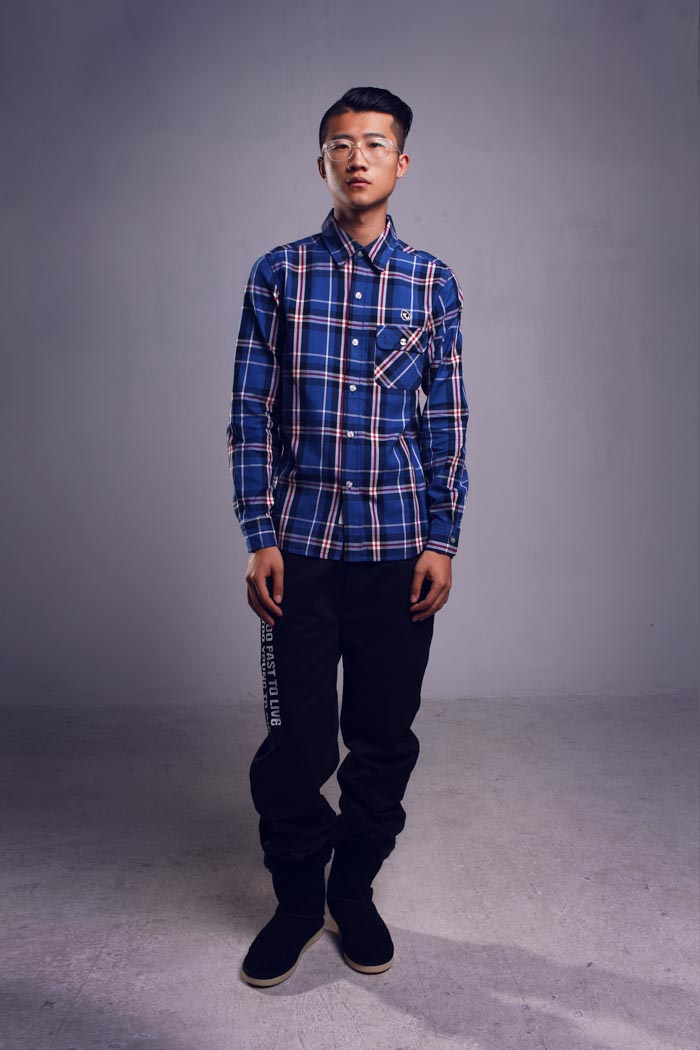 model, shirt, blue