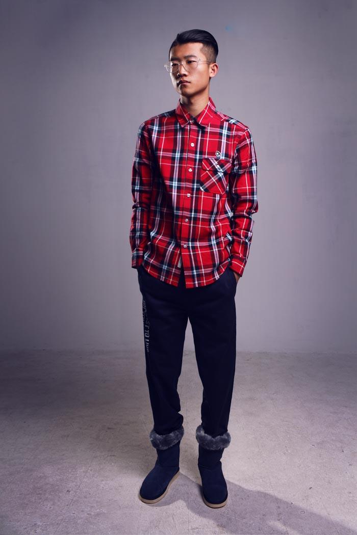 model, check shirt,