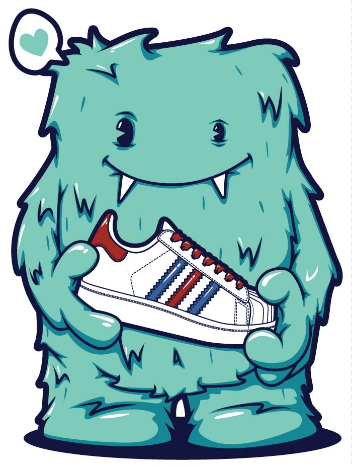 monster, vector, illustration, adidas, superstar