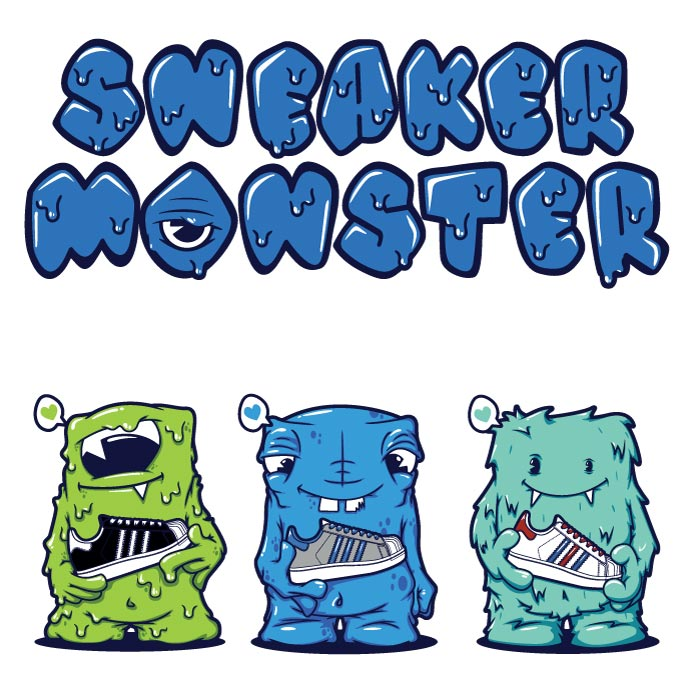 monster, vector, illustration, adidas, superstar, logo