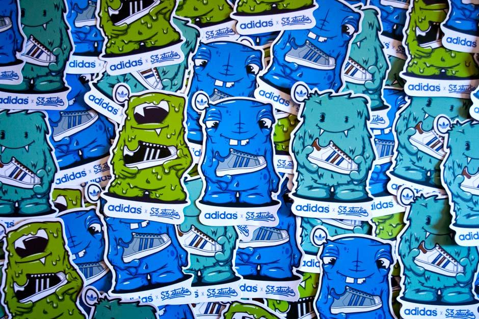 stiker, adidas, illustration, character design, super star,