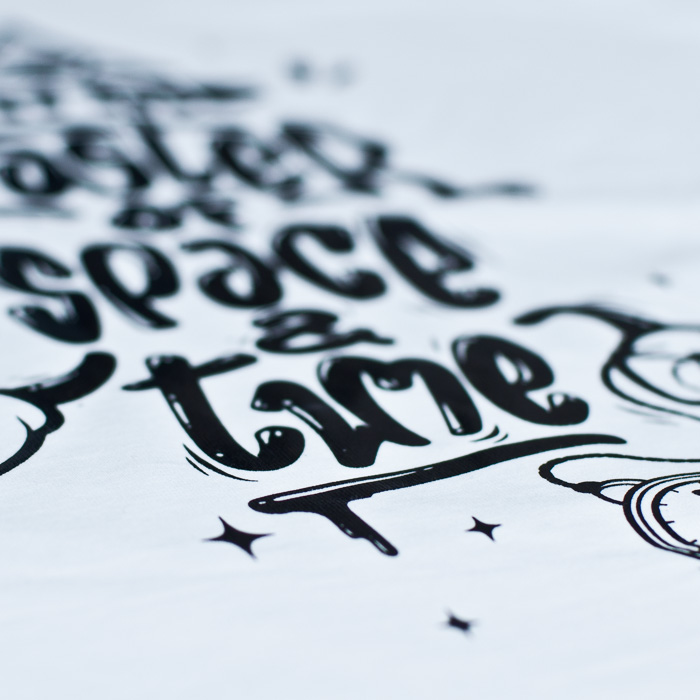 T-shirt, space & time, artwork, details