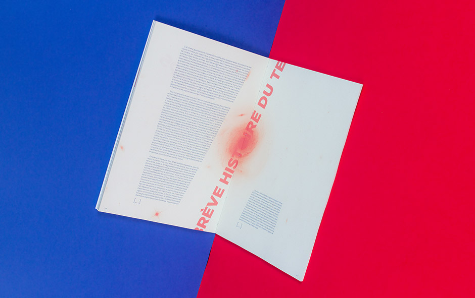 Magazine, layout, experimental, blue, red
