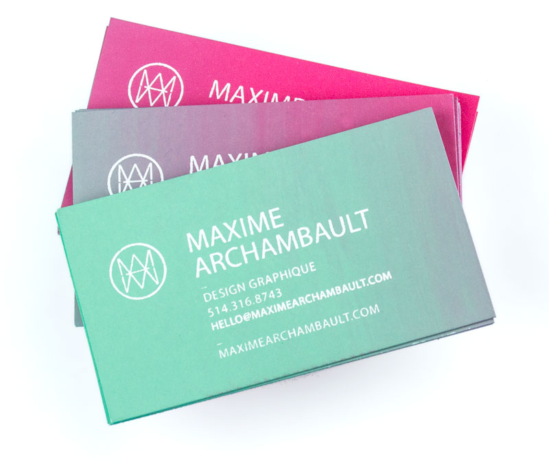 Summer business cards maxime archambault for summer 2015 i decided to make myself some funky handmade business cards they were a limited edition silkscreen printed and i used some spray paint colourmoves